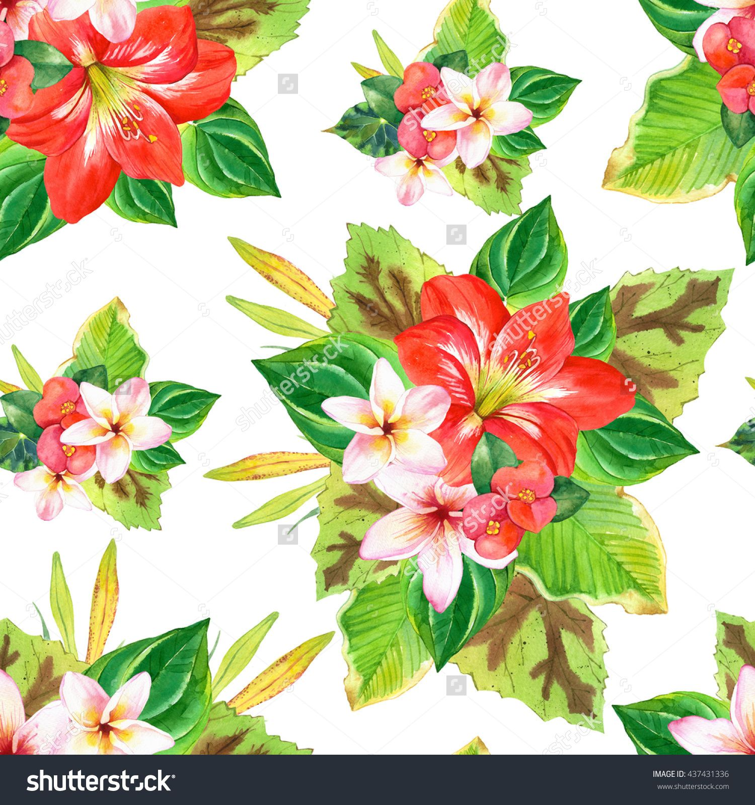 Seamless Pattern With Watercolor Tropical Flowers And Plants On