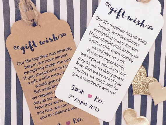 Personalised Wedding Gift Wish Money Request Poem Card Favour Tag