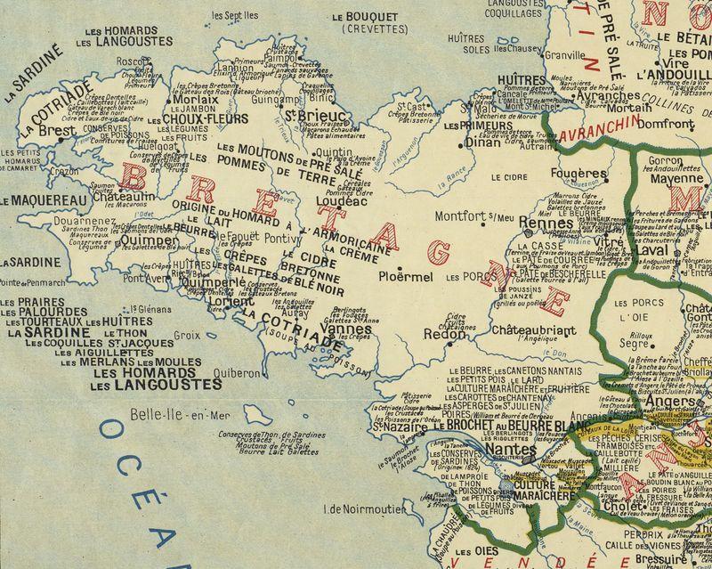 Bretagne La Carte Des Specialites Gastronomiques De 1929