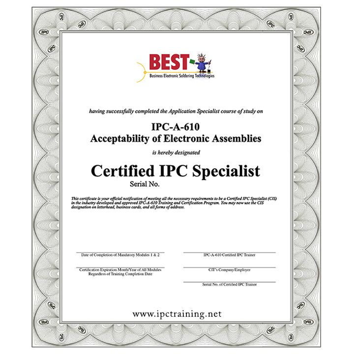 Get Ipc 610 Certification For The Acceptability Of Electronic