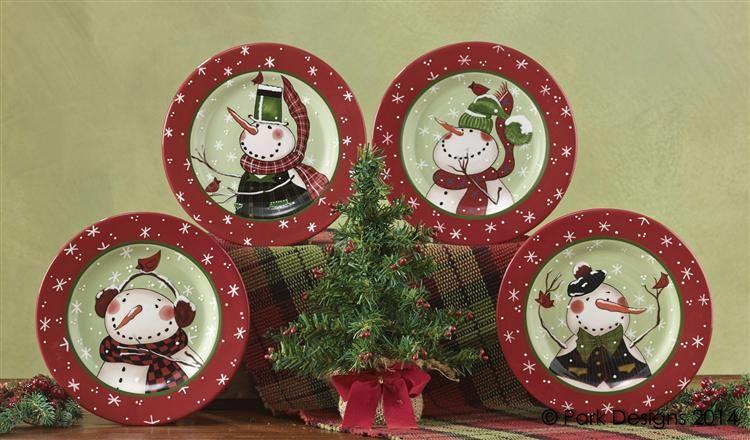 Winter Buddies Snowman Christmas Dessert Plates (Set of 4) & Winter Buddies Snowman Christmas Dessert Plates (Set of 4 ...