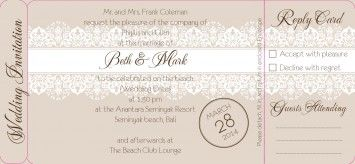 New Dawn Boarding Pass Invite W Rsvp In Taupe Dreamday Wedding
