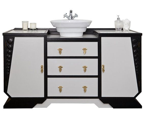 Art Deco bathroom vanity unit with countertop basin. This is an ...