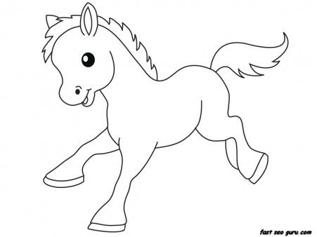 print out farm pony baby animals coloring pages printable coloring pages for kids - Coloring Pages Print Animals