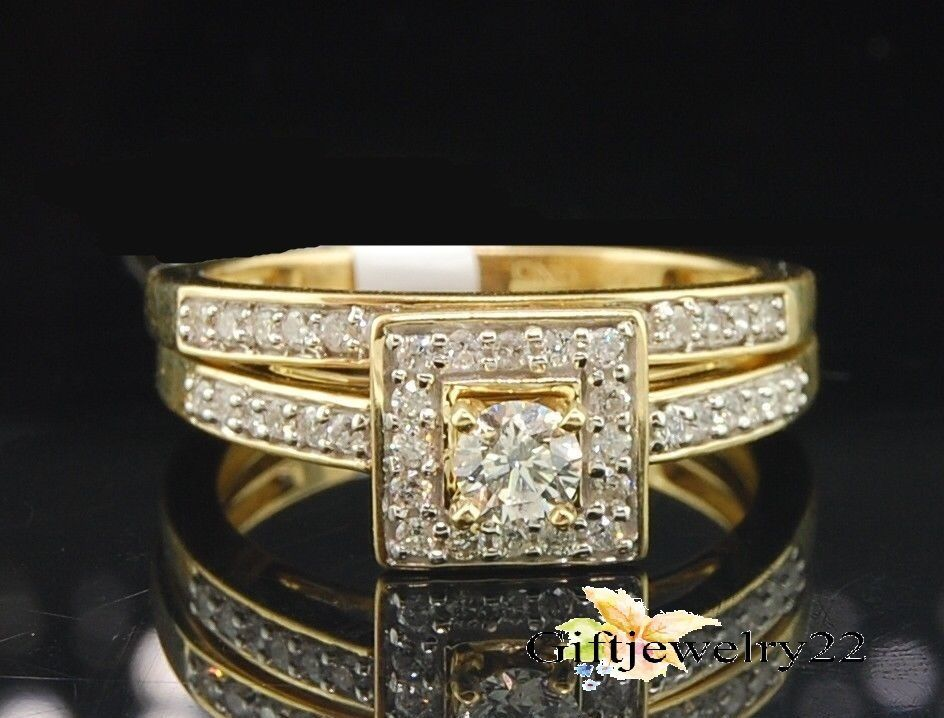 10K Yellow Gold Over Diamond Engagement Bridal Rings Wedding Band Set 1.36 Ct #giftjewelry22