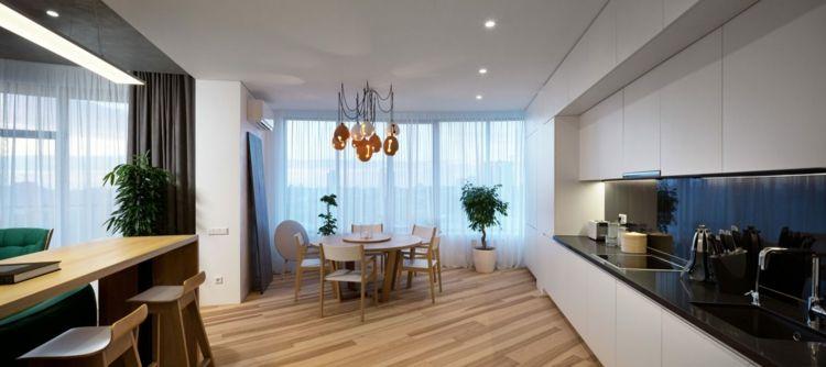 farbe-gruen-minimalistisch-kueche-offen-wohnraum-gestalten-idee - wohnzimmer offen gestaltet