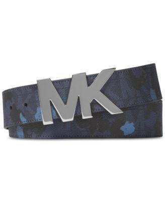 Michael Kors Men's Painterly Camo Logo Belt In Midnight