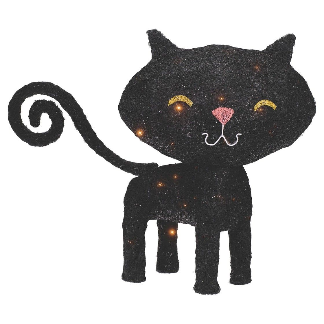 halloween lit sisal black cat