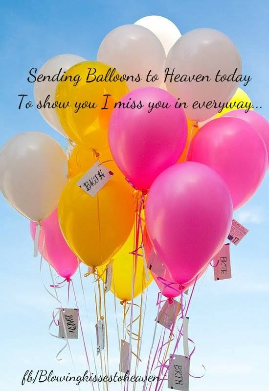Balloons To Heaven Celebrate Your Birthday Blowing Kisses My Angel Baby Girl Today