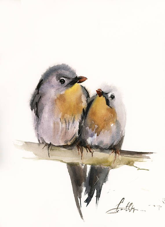 Birds Couple Original Watercolor Painting Two Birds On A Branch