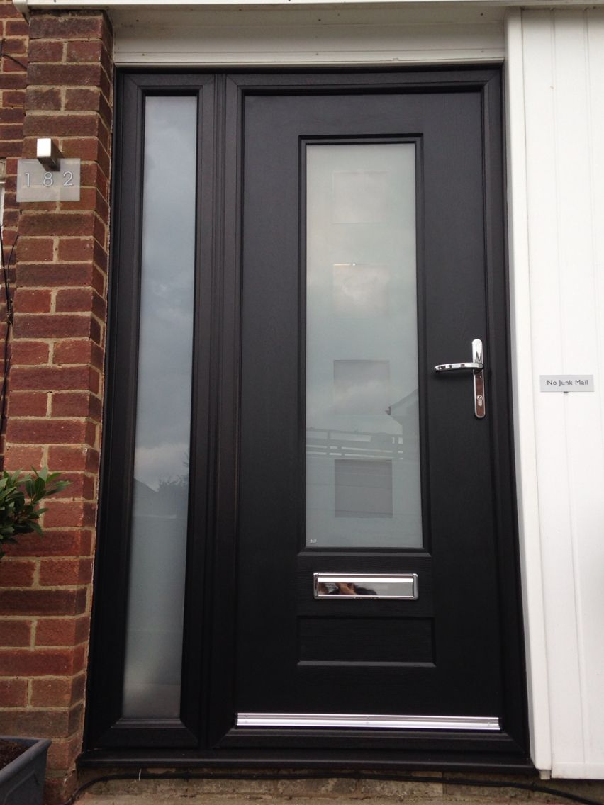 Again black very popular colour for front doors very for Entry door with side windows