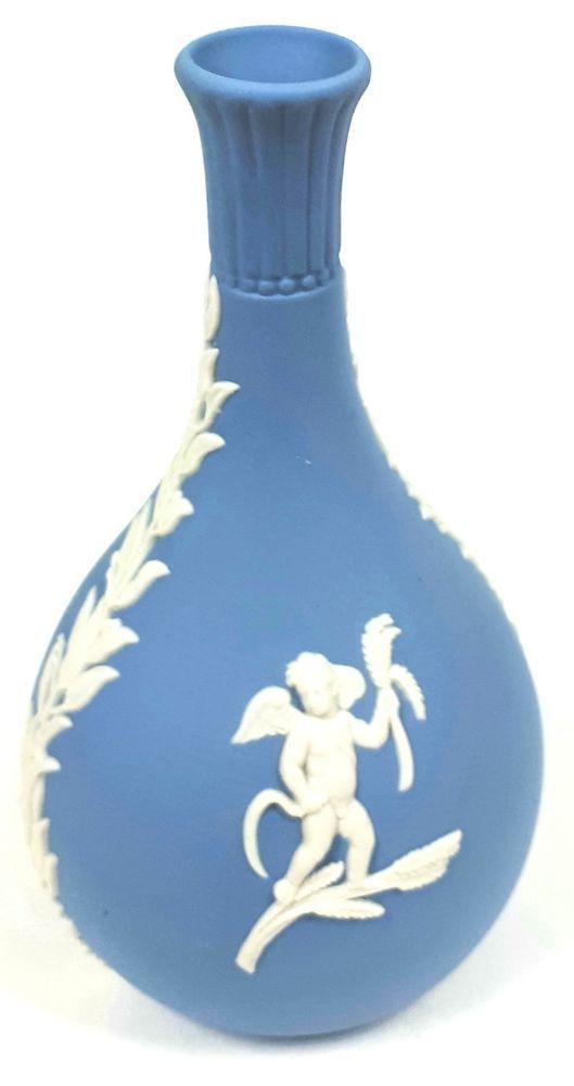 Wedgwood Blue Jasperware Bud Vase White Cupid Relief Cherubs Garland