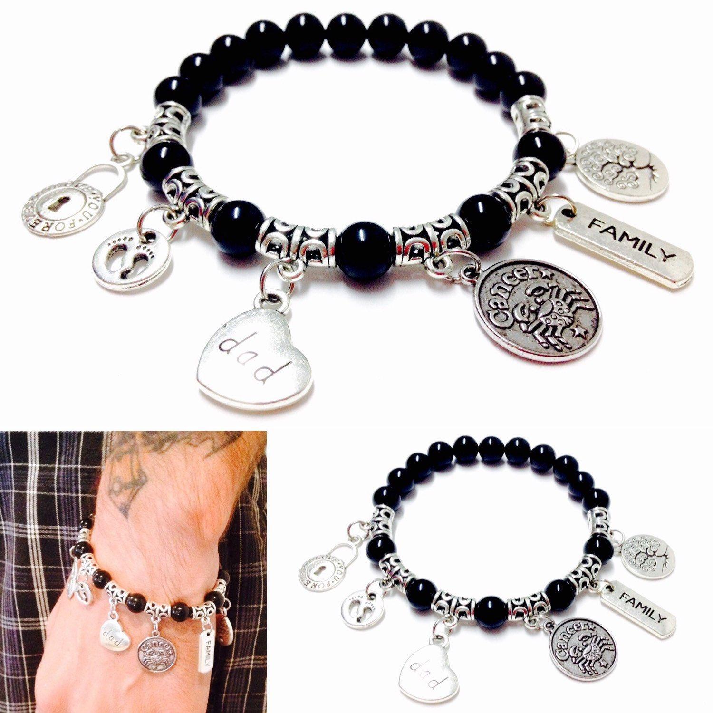Mens Charm Bracelet Dad Family Beaded Jewelry Zodiac By