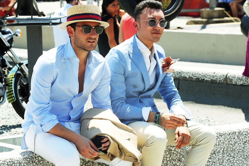 Pitti Uomo Summer 2013, Florence (I love that his shirt isn't buttoned up all the way)