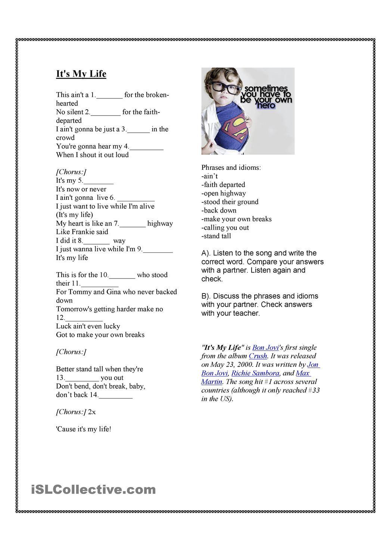 worksheet Present Simple Song Worksheet song its my life present simple a ingles geoconda pinterest simple