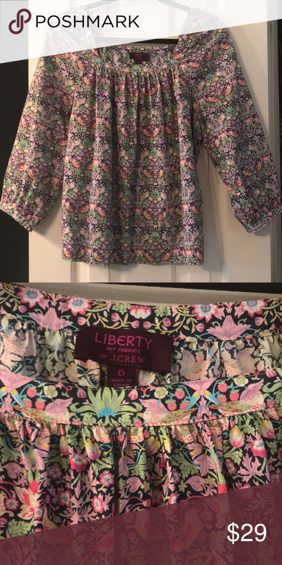 eba149d12f0a0 J crew floral peasant top size 6 Liberty Art Fabrics special collection for J  Crew peasant top. Square neckline and blouses sleeves.