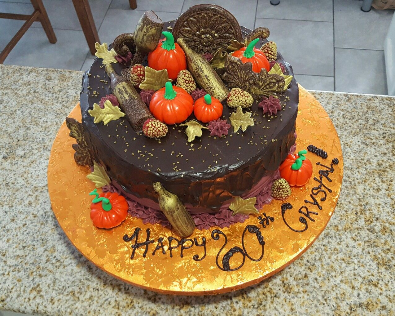 Excellent Fall Themed Birthday Cake Created By Jojos Custom Cakes In Funny Birthday Cards Online Aeocydamsfinfo