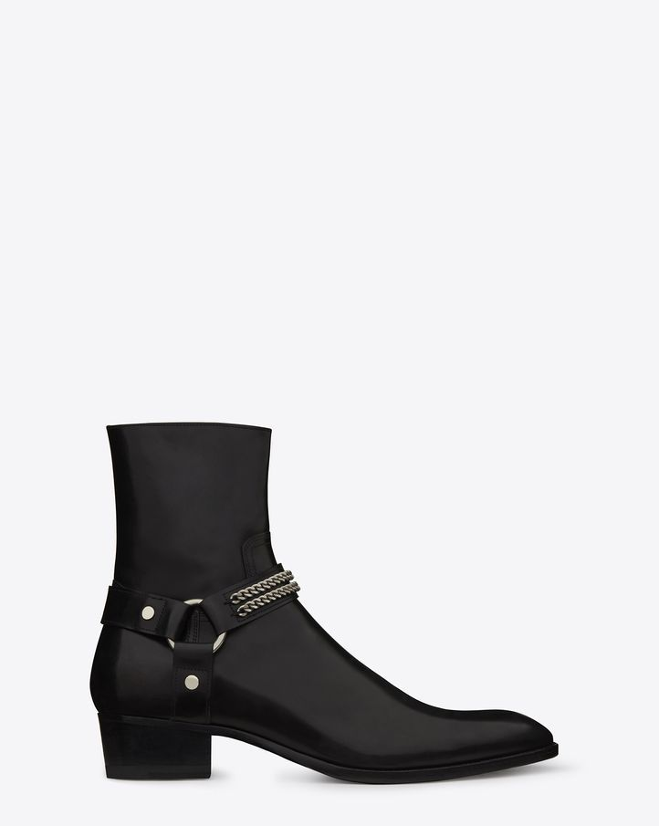 saintlaurent, Classic Wyatt Chain Harness Boot in Black leather