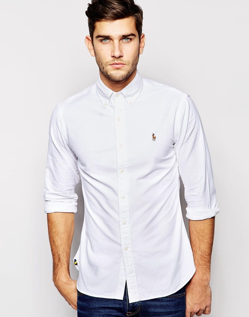 2a4266767534 Polo Ralph Lauren Oxford Shirt In Slim Fit White | men tshirt ...