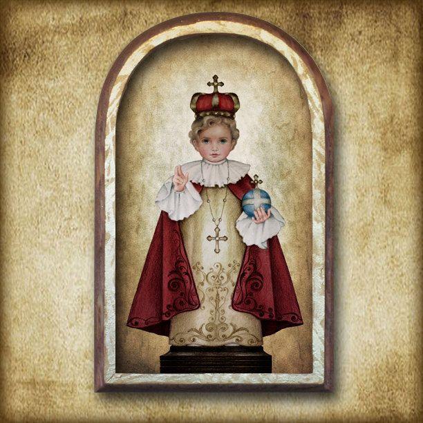 The Infant of Prague Arched Wood Plaque by PortraitsofSaints