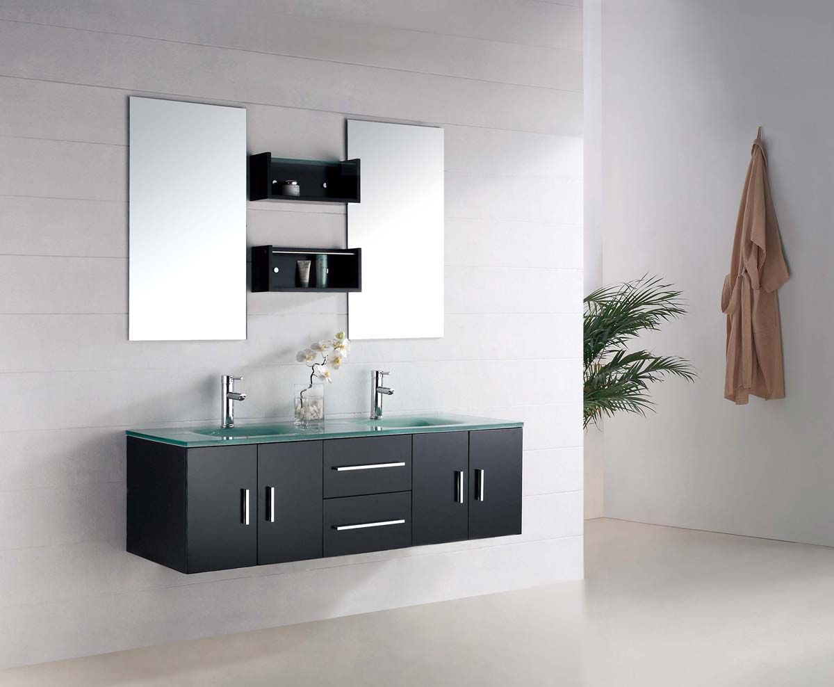 The Modern Bathroom Vanity Features Infinitystyle Sinks Where Adorable Modern Bathroom Vanity Review