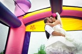 Bouncy house at wedding.