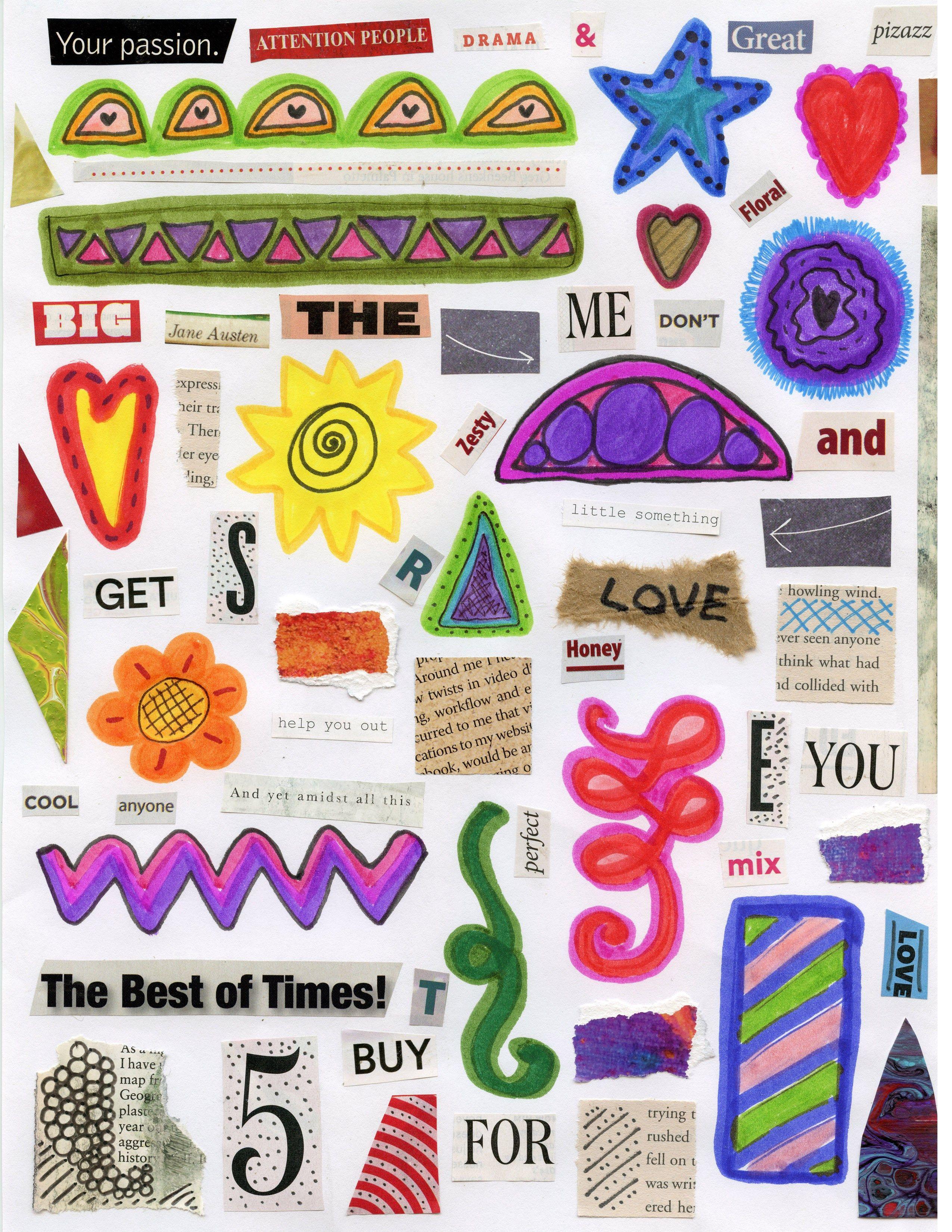 Set 1-4 Digital Download Collage Sheets Mixed Media 8.5 x 11 Printables