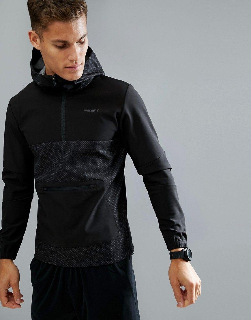 1ba685df1310 Jack   Jones Tech 1 2 Zip Sweat Hoodie in Tech Dry Fabric - Black
