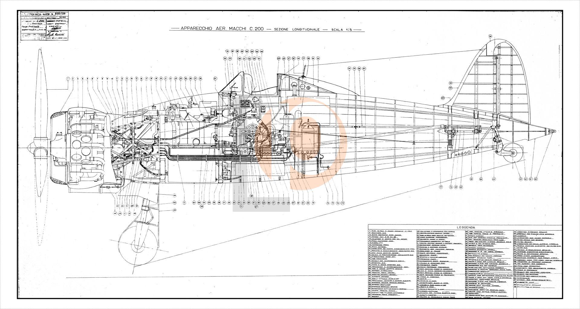 Aeroplano Aer.Macchi MC.200-Cod. DW-MC200-105x56 FIANCO