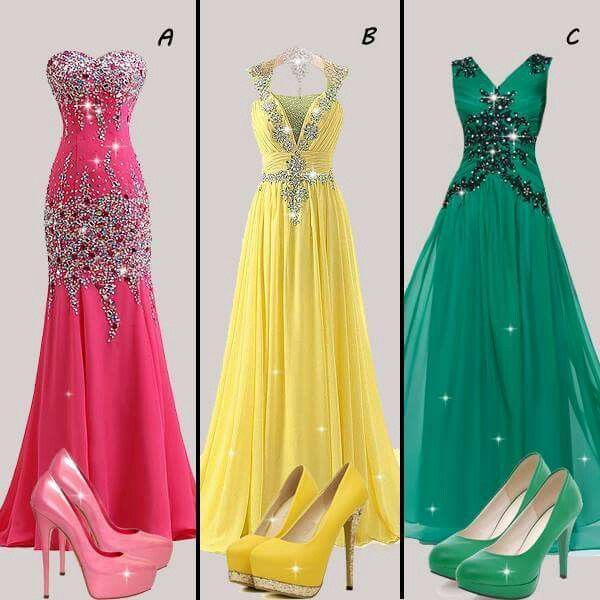 Pink, yellow, green formal gowns and shoes