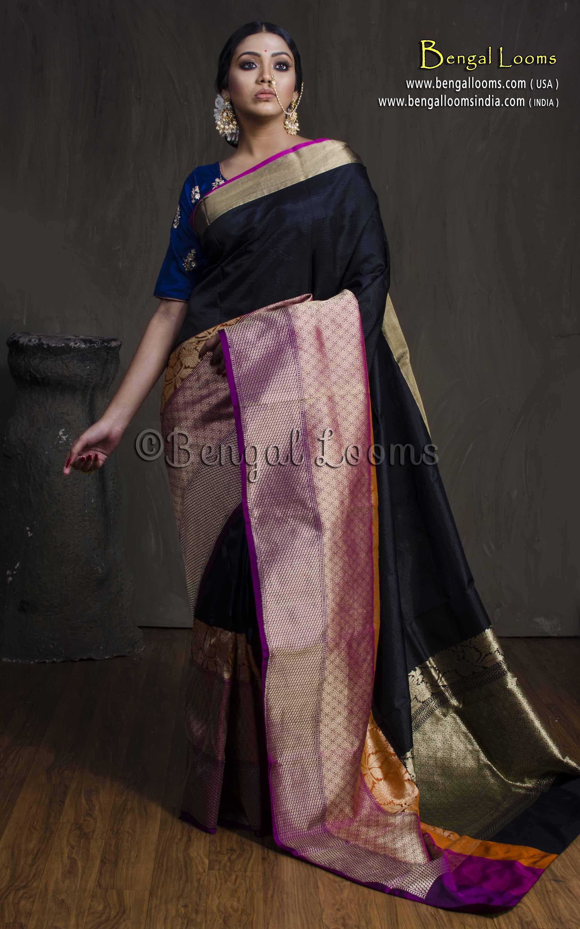 72b11e69ab Pure Katan Silk Banarasi Saree in Black, Rani and Purple | Indian ...