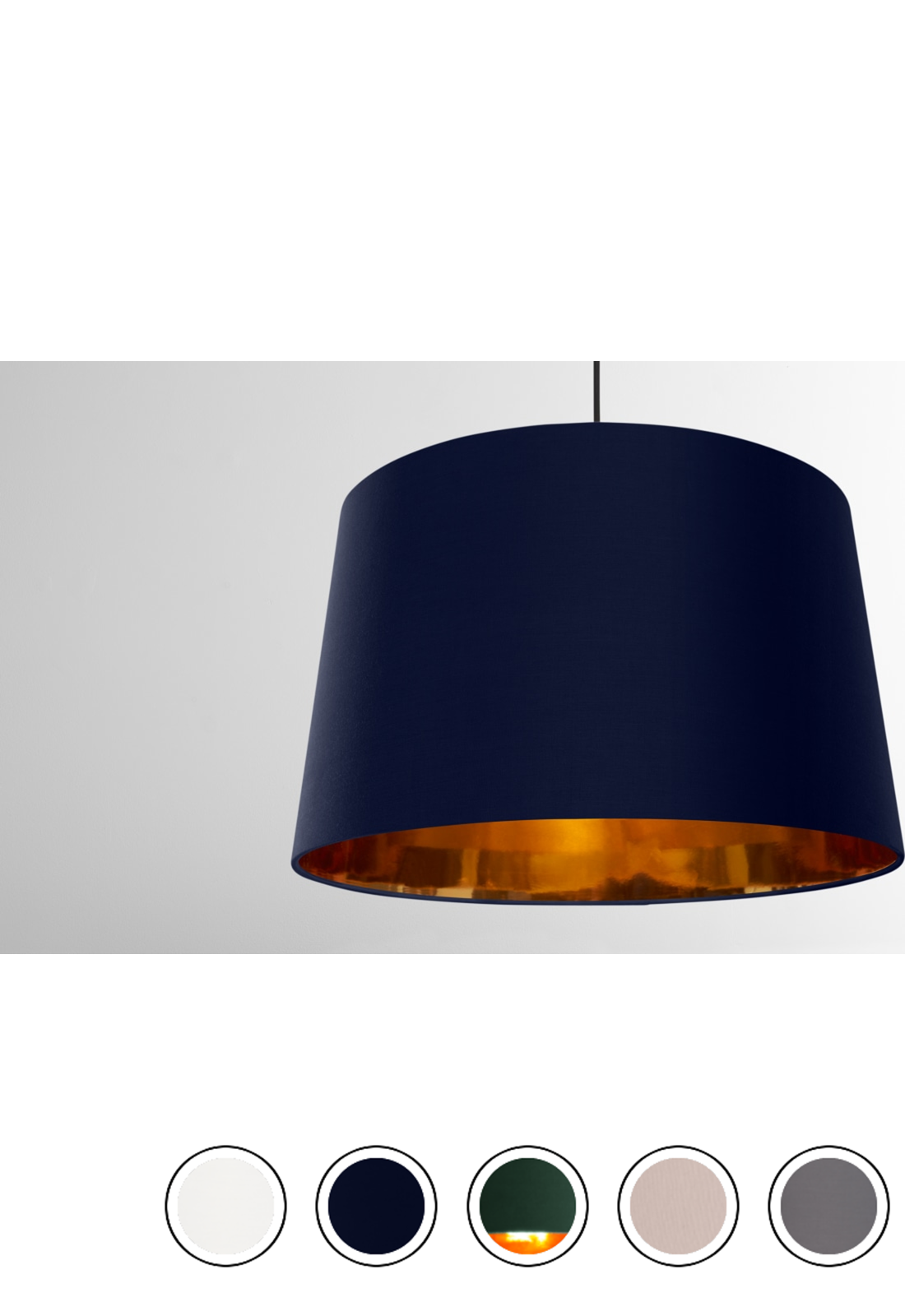 Oro Extra Large Tapered Pendant Drum Lamp Shade Navy And Copper Navy Copper Copper Pendant Lights Copper Living Room