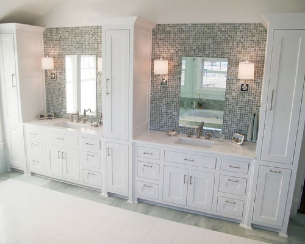 Double Vanity Linen Towers Ideas Pictures Remodel And Decor Bathroom Vanity With Linen Cabinet ...