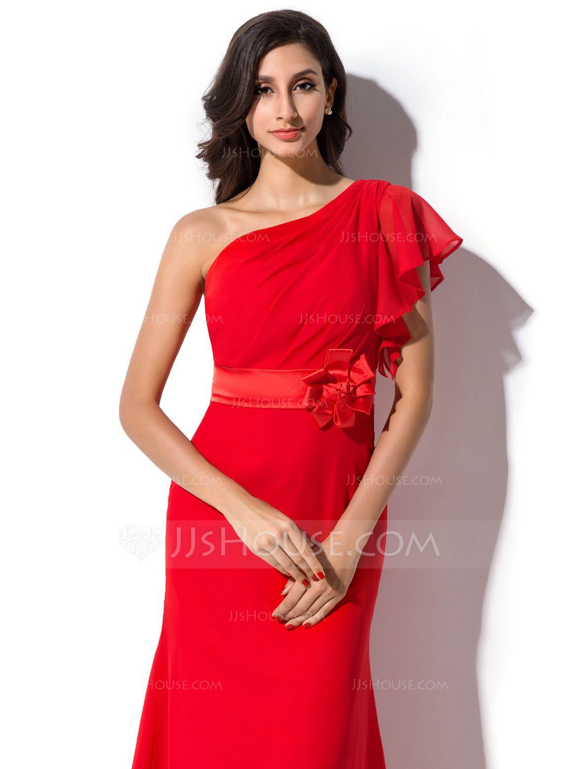 15a9b01b5 Sheath/Column One-Shoulder Floor-Length Chiffon Evening Dress With  Flower(s) Cascading Ruffles (017041074) - JJsHouse