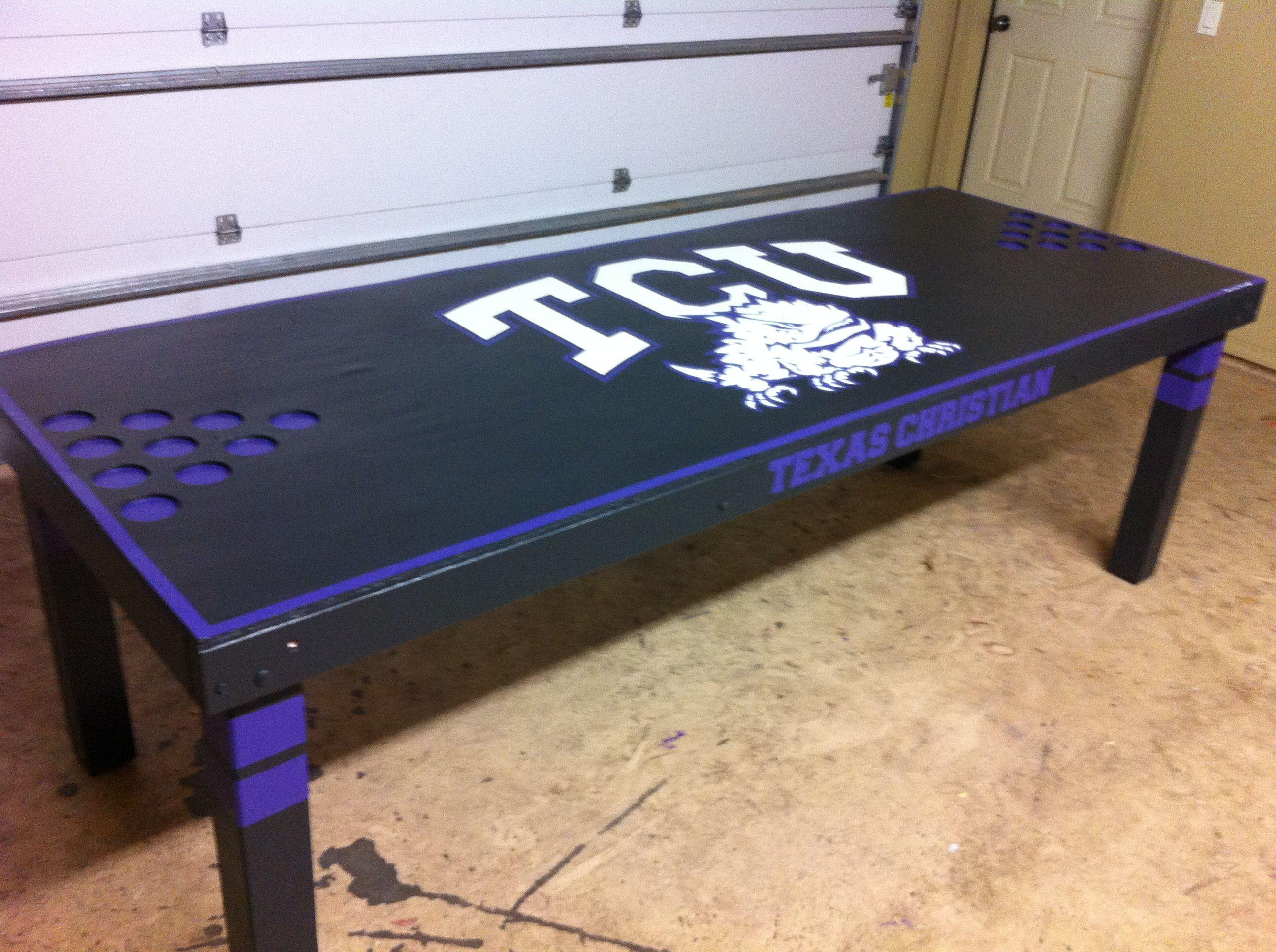 custom black tcu beer pong table beer pong pinterest. Black Bedroom Furniture Sets. Home Design Ideas