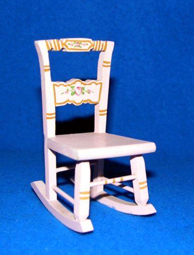 Antique Tynietoy Pink Nursery Rocking Chair Dollhouse