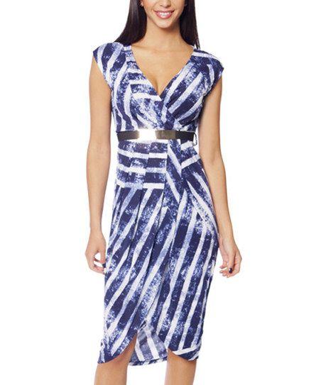 So Nice Collection Navy Blue & White Stripe Surplice Dress | zulily