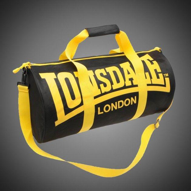 31092d4786 Sportovní taška Lonsdale Barrel black yellow. Popruh na rameno připínatelný  k tašce. Dva