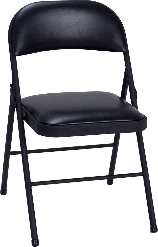 Folding Chairs Vinyl Padded Seat Durable Steel Outdoor