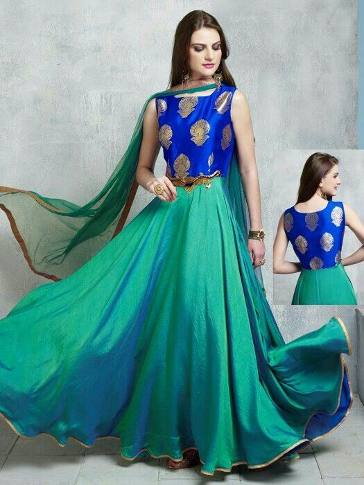 de27c19c233 Shop Green cotton silk wedding wear designer anarkali salwar