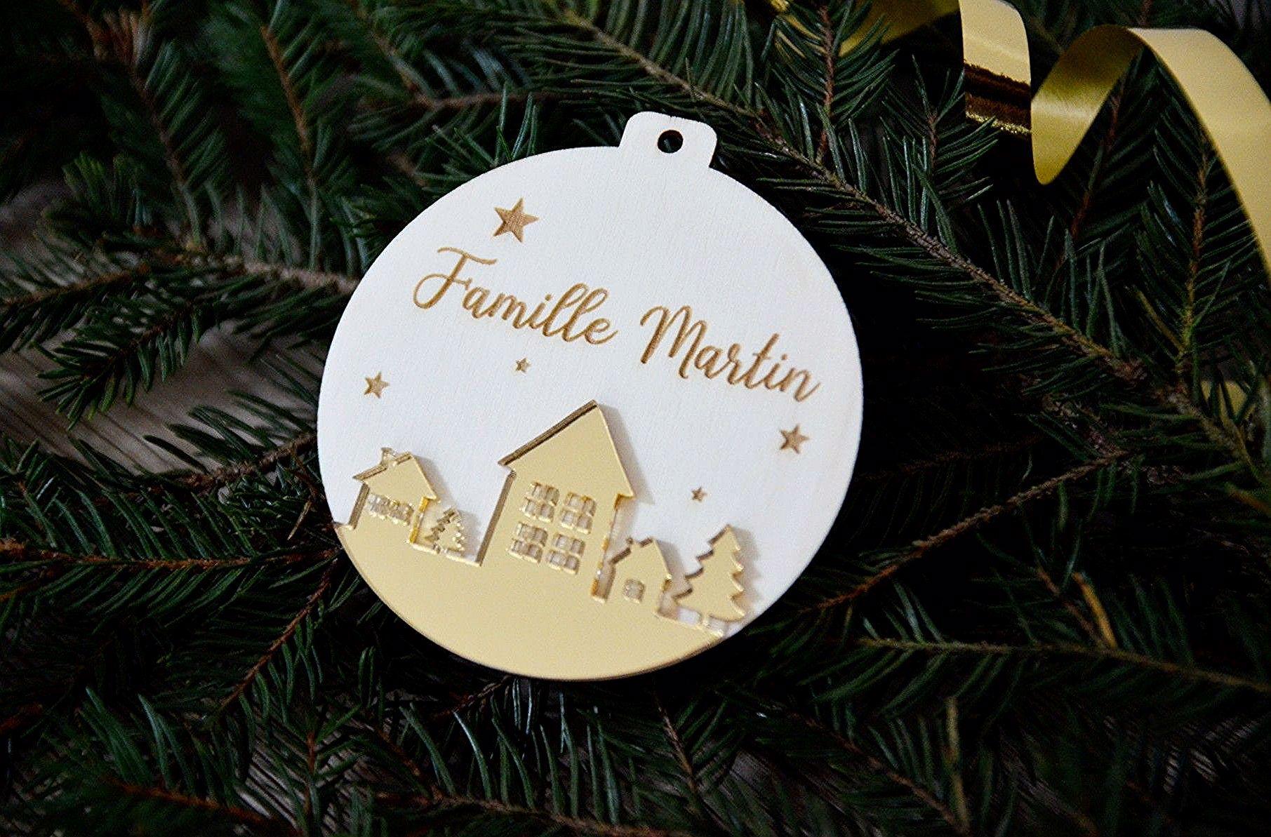 Boule De Noel Plexi A Decorer Boule de Noël bois et plexiglas à personnaliser avec nom de
