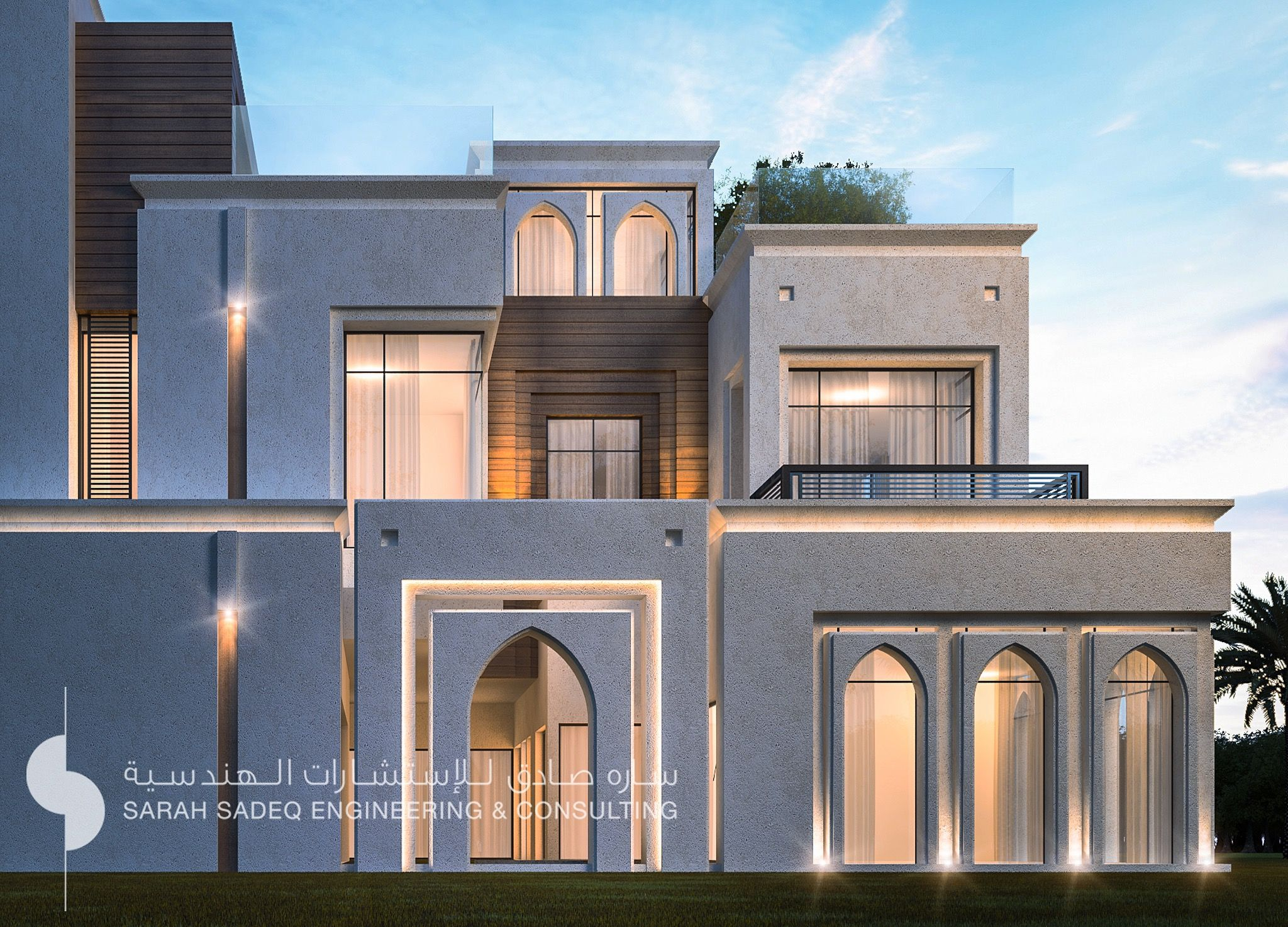 500 m private villa kuwait by sarah sadeq architects for Modern villa architecture design
