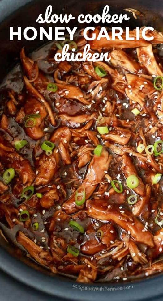 BEST Slow Cooker Honey Garlic Chicken - Spend With Pennies