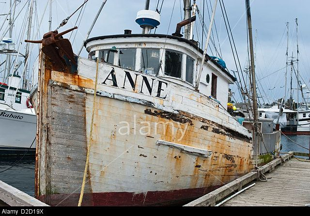 Old Wooden Commercial Fishing Boat In Crescent Harbor Sitka