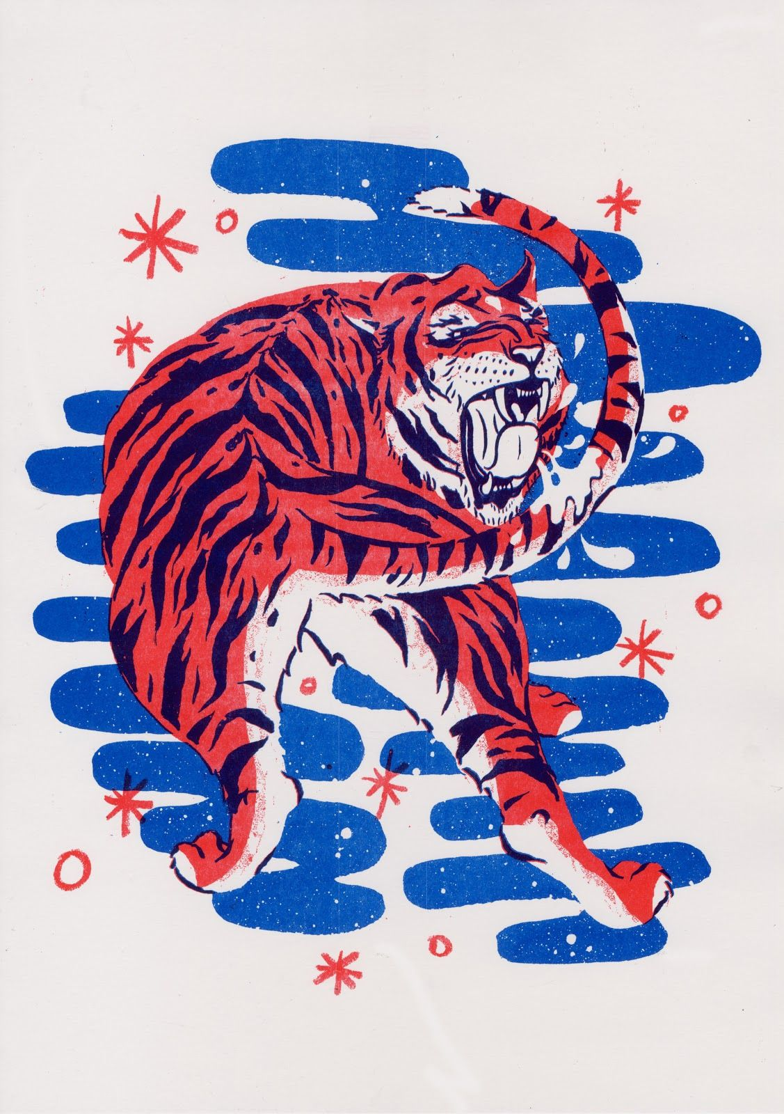 Patch Keyes, Bright red and blue, A3, via Bellevue Press Risograph ...