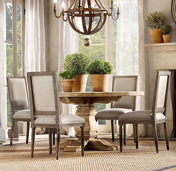 Restoration Hardware Dining Room Chairs: Vintage French Square Back Fabric Side Chair
