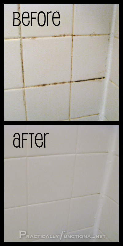 A cheap way to clean mildew from tile. 3/4 cups baking soda with 1/4 cup bleach. Mix to a paste and apply to grout with toothbrush