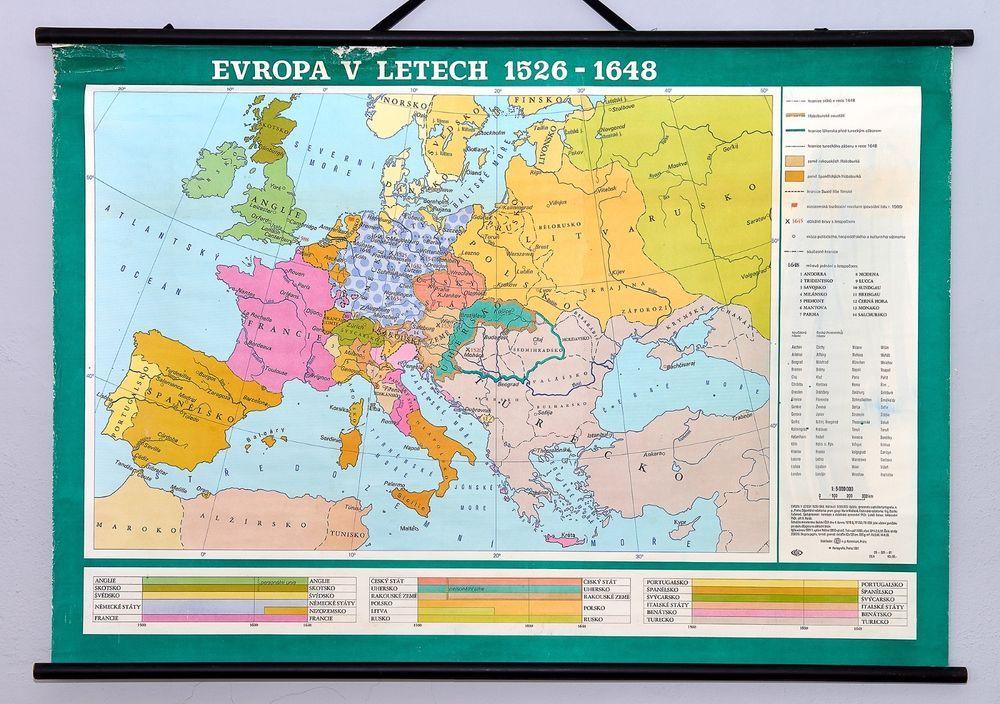Vintage map Europe in 1526 - 1648. Antique rare retro school wall ...