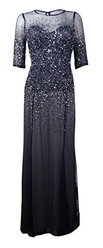 Dress features full lining illusion neckline half-sleeves sequined mesh fabric padded bust and concealed back zipper with keyhole hook & eye closure....