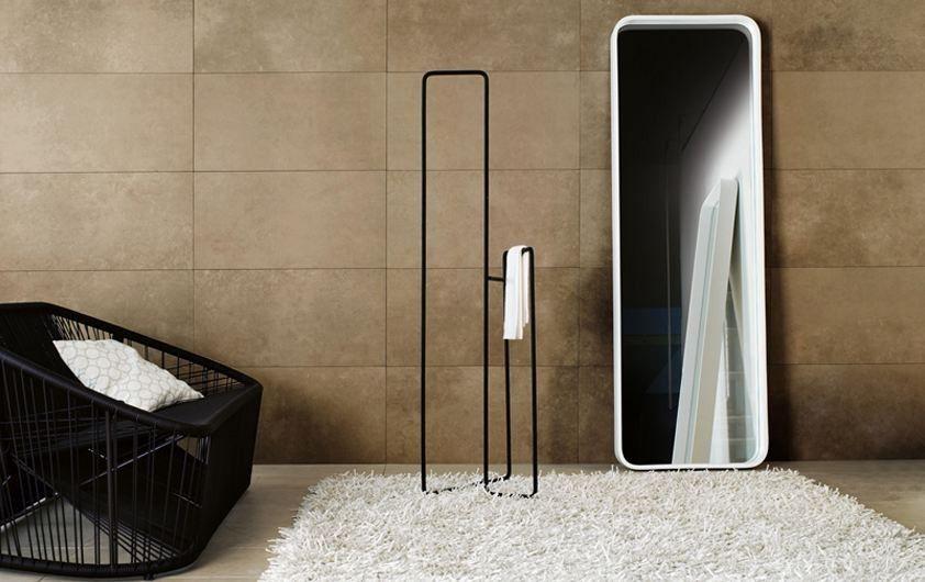 Gessi Goccia Free-standing White Mirror & Gessi Goccia Free-standing Black Towel Rail.